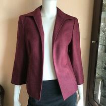 Brooks Brothers Burgundy 3/4 Sleeve Open Front Blazer Wool Cashmere Silk Size 6  Photo