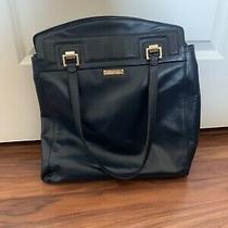 Brooks Brothers Classic Style Large Navy Leather Shoulder Bag Purse Handbag Photo