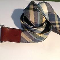 Brooks Brothers - Cotton Madras D-Ring Belt With Genuine Leather Tips Szlg 48
