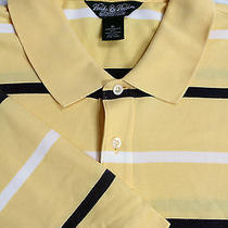 Brooks Brothers Country Club Men's Yellow Striped Polo Golf Shirt Xl Photo
