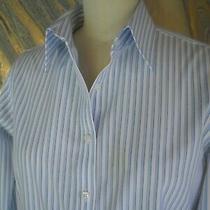 Brooks Brothers Dress Shirt French Cuffs White/blue Striped Top Women's sz.10 Photo