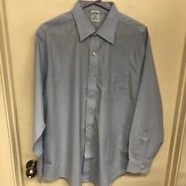 Brooks Brothers Dress Shirt Size 17 34/35 Blue Slim Fit H-455 Photo