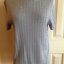 Brooks Brothers Light Blue Silk/cashmere Short Sleeve Sweater Size Large Photo