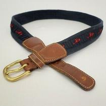 Brooks Brothers Lobster Belt 30 31 Ribbon Canvas Leather Blue 8011 Photo