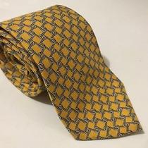 Brooks Brothers Long Neck Tie Yellow Blue Geometric Squares Rings Classic Photo