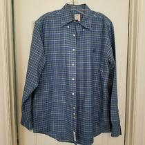 Brooks Brothers Long Sleeve Cotton Blue White Gold Plaid Casual Shirt M Photo
