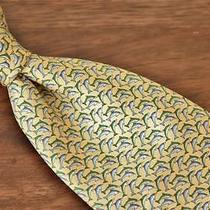 Brooks Brothers Makers Whimsical Butter Yellow Blue Green Jumping Dolphins Tie Photo