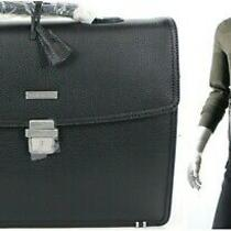 Brooks Brothers Men's Classic Leather Briefcase Attache Padded Laptop Bag Black  Photo