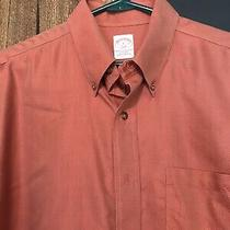 Brooks Brothers Men's Dress Shirt Orange Size L Style 346 Photo