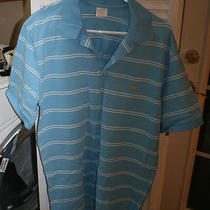 Brooks Brothers Men's Large 100% Cotton Light Blue Stripped Polo Photo