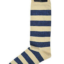 Brooks Brothers Mens 1 Pair Beige Blue Striped Cotton Dress Socks 7-12  8385-7 Photo