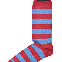 Brooks Brothers Mens 1 Pair Red Blue Striped Cotton Dress Socks 7-12  8386-7 Photo