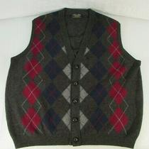 Brooks Brothers Mens Buttoned Lambswool Sweater Vest 48