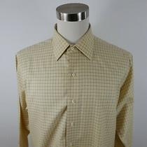 Brooks Brothers Mens Non Iron Ls Button Up Yellow Navy Plaid Dress Shirt 16.5-33 Photo