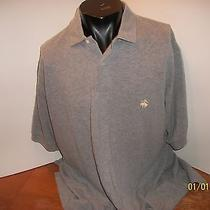 Brooks Brothers Mens Polo Shirt Signature Sheep Lamp Pale Yellow on Gray Large Photo