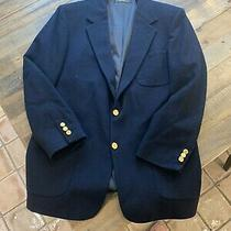 Brooks Brothers Mens Two Button Front Blazer Wool Navy Blue Size L Photo