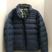 Brooks Brothers Navy Blue Plaid Jacket Coat Puffer Down Full Zipper Pockets L  Photo