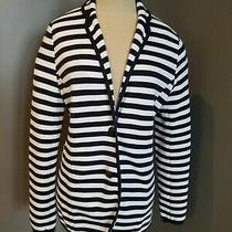 Brooks Brothers Navy Blue Striped Cotton Knit Blazer Size L - Euc Photo