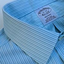 Brooks Brothers Regent Green Striped Dress American Supima Cotton Shirt Sz1632 Photo