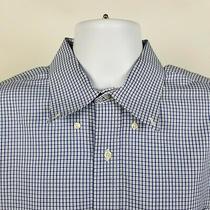 Brooks Brothers Slim Fit Non Iron Blue Check Mens Dress Button Shirt Size 17 4/5 Photo