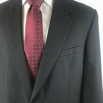 Brooks Brothers Sport Coat Blazer 44 L 100%Wool Blue With Sky Blue Pinstripe Photo