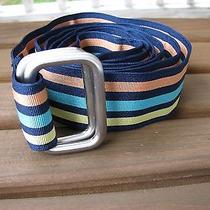Brooks Brothers Sz Xl Navy Colorful Striped Belt  Photo
