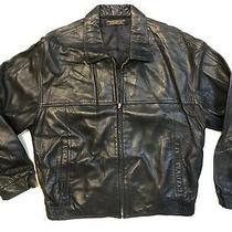 Brooks Brothers Vtg Black Leather Full Zip Lined Bomber Jacket Size 48 Finland  Photo