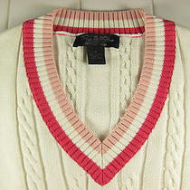 Brooks Brothers - White/pink Cable Knit Striped 100% Cotton v-Neck Sweater Sz M Photo