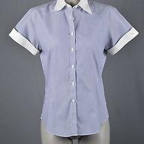 Brooks Brothers Womans Top Sz 6 Blue White Stripe Dress Shirt Solid Collar &cuff Photo