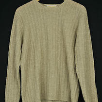Brooks Brothers Womens Lambswool Sweater -Large- Crewneck Cable Knit Oatmeal Photo