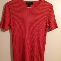 Brooks Brothers Womens Medium Silk Cashmere Cable Knit Sweater Orange Photo