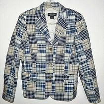 Brooks Brothers Womens Sz 4 Blazer Jacket Blue Tan Patchwork Plaid Cotton Lined  Photo