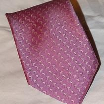Brooks Brothers Xl Stain Resistant Dolphins on Rose Silk Tie  64 X 3 3/4