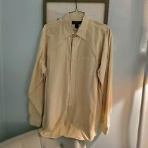 Brooks Brothers Yellow Pin Stripe Fitted Dress Shirt Size Xl (43/17) Regular Photo