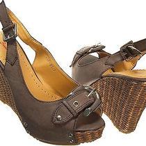 Brown 6refresh Chloe Peep Toe Espadrille Platform 4.25