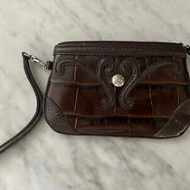 Brown Alligator Style Leather Clutch Wallet Wristlet - Brighton - Perfect Photo