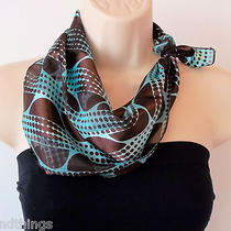 Brown and Aqua Circle Scarf Lady Scarf  Little Square Scarf Neckherchief Photo