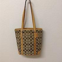 Brown and Beige Coach Bucket Purse Photo