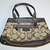 Brown Beige Coach Designer Handbag Purse 7 Pocket  Photo