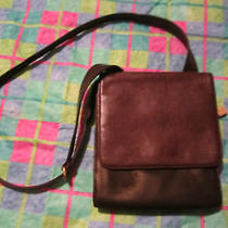 Brown & Burgandy Leather Vintage Leather Messenger Handbag Photo