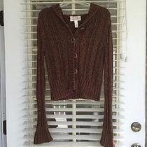 Brown Cable Knit Button Up Sweater Photo