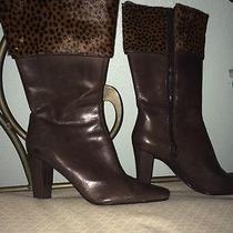 Brown Cheetah Heel Boots Photo