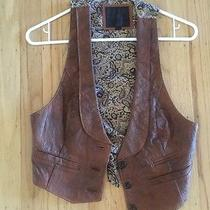 Brown Cognac Lambskin Leather Vest Womens/juniors Tag Elements Small Photo