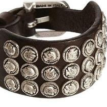 Brown Leather Amoren Mohawk Stud Cuff Bracelet Nwt 88 Diesel Made in Italy Photo