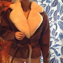 Brown Leather and Lamb Fur Bomber Jacket Womans Small Photo