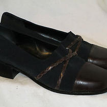 Brown Leather/black Microfiber Brighton Weaved Straps Loafers 7.5 M Photo