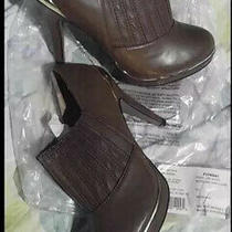 Brown Leather Booties Gold Trim-Size Size 9 Photo
