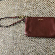 Brown Leather Coach Wristlet Wallet for Women Used Photo