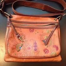 Brown Leather Floral Stud Fossil Cross Body Bag Rare Style Photo