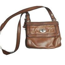 Brown Leather Fossil Key Crossbody Bag Purse Handbag Vintage Key Per Photo